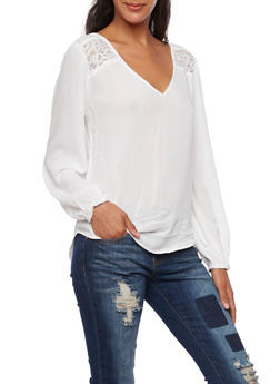 Crinkled Top with Lace Insets and Flyaway Back - 3001054268690