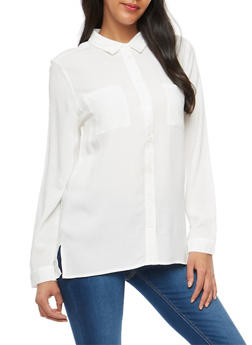 Long Sleeve Button Front Shirt - OFF WHITE - 3001054268822