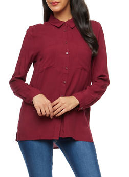 Long Sleeve Button Front Shirt - 3001054268822