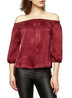 Off the Shoulder Three Quarter Sleeve Top - 3001054268831