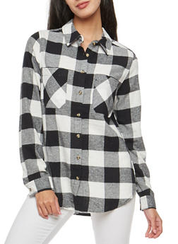 Plaid Button Front Top - 3001054269152