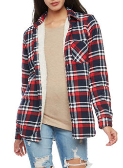 Faux Fur Lined Plaid Button Front Top - 3001054269153