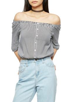 Striped Off the Shoulder Crop Top - 3001054269707