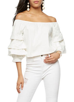 Off the Shoulder Triple Layered Top - WHITE - 3001058750045