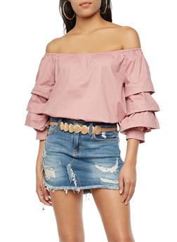 Off the Shoulder Triple Layered Top - 3001058750045