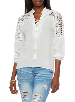 Laceup Gauze Top with Crochet Paneling - 3001058750057
