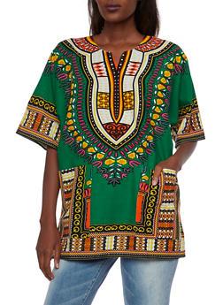 Short Sleeve Dashiki Print Top - 3001058750060