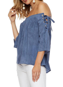 Off the Shoulder Top with Lace Up Sleeves - 3001058750083