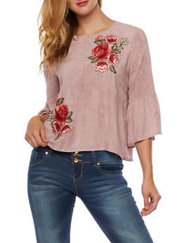 Bell Sleeve Top with Rose Applique - 3001058750085