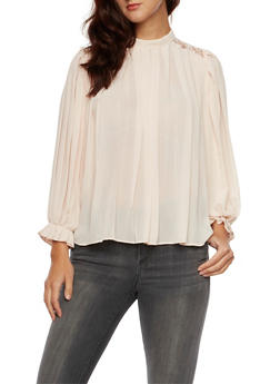 Pleated Top with Lace Shoulders and Back Buttons - BLUSH - 3001058750141