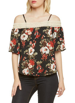 Floral Off the Shoulder Top with Crochet Trim - 3001058750160