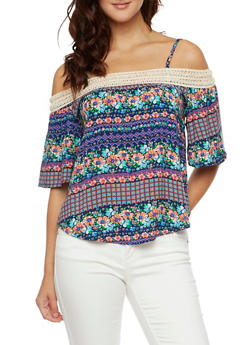 Off the Shoulder Floral Top with Crochet Trim - RYL BLUE - 3001058750162