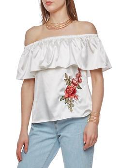 Satin Off the Shoulder Top with Rose Applique - IVORY - 3001058750175