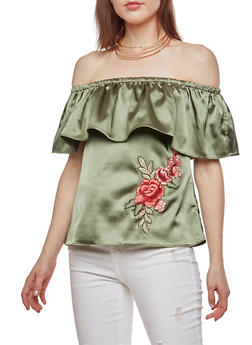 Satin Off the Shoulder Top with Rose Applique - 3001058750175
