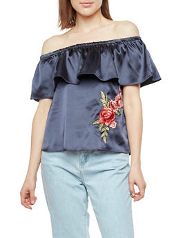 Satin Off the Shoulder Top with Rose Applique - NAVY - 3001058750175