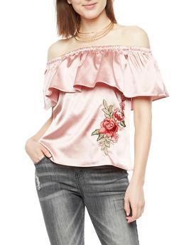 Satin Off the Shoulder Top with Rose Applique - 3001058750175