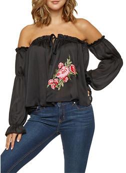 Floral Applique Satin Off the Shoulder Top - 3001058750214