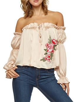 Floral Applique Satin Off the Shoulder Top - 3001058750214