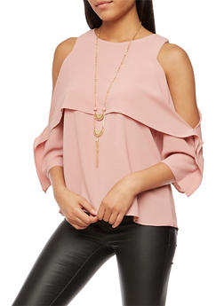 Crepe Knit Cold Shoulder Top with Necklace - 3001058750225