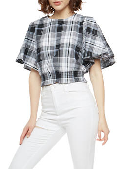 Plaid High Neck Top with Smocked Waist - 3001058750253