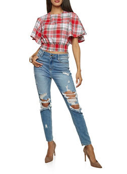 Plaid Crew Neck Top with Smocked Waist - 3001058750253