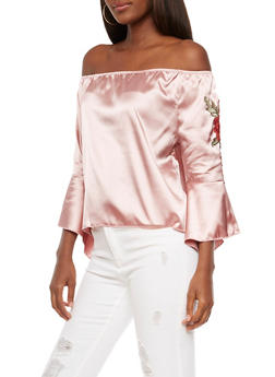 Satin Off the Shoulder Top with Bell Sleeves - 3001058750262