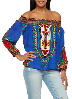 Off the Shoulder Top in Dashiki Print - RYL BLUE - 3001058750444