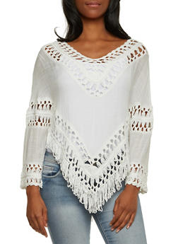 Poncho Top with Crochet Trim - 3001058750514