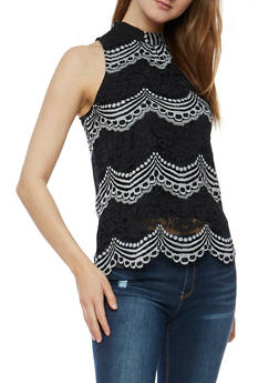 Two Tone Lace Scallop Hem Top - 3001058750809