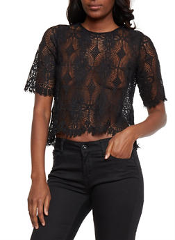 Short Sleeve Crochet Top - 3001058750849