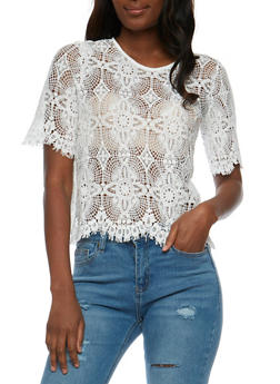 Short Sleeve Crochet Top - 3001058750849