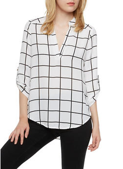 Printed Popover Top with High-Low Hem - 3001058751061
