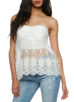 Bustier with Sheer Overlay - OFF WHITE - 3001058751169