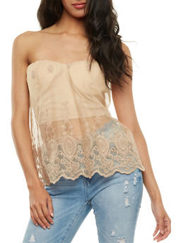 Bustier with Sheer Overlay - 3001058751169