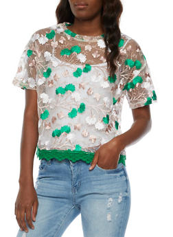 Embroidered Mesh Top with Crochet Hem - 3001058751235