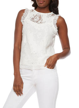 Sleeveless Lace Top with Back Keyhole - 3001058751268