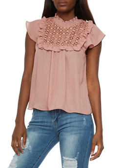 Flutter Sleeve Blouse with Crochet Yoke - MAUVE - 3001058751287