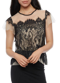Short Sleeve Lace Front Mesh Top - 3001058751302