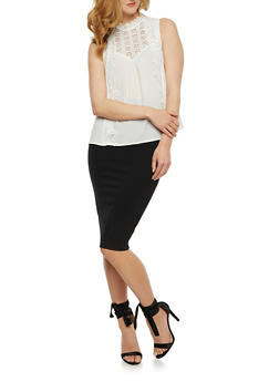 Sleeveless Crepe Knit Top with Crochet Panel - 3001058751373
