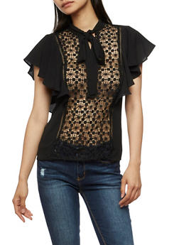 Short Sleeve Top with Crochet Accent and Bow Tie Neck - 3001058751385