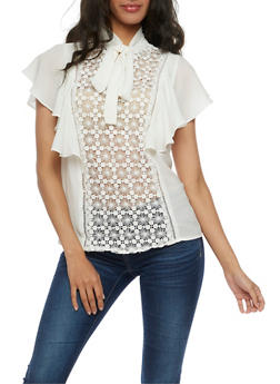 Short Sleeve Top with Crochet Accent and Bow Tie Neck - OFF WHITE - 3001058751385