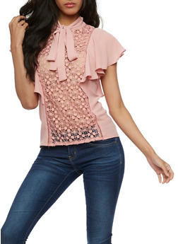 Short Sleeve Top with Crochet Accent and Bow Tie Neck - BLUSH - 3001058751385