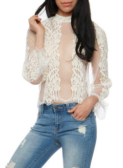 Bell Sleeve Fishnet Lace Top - 3001058751392