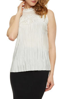 Mesh Yoke Crinkle Knit Top with Lace Trim - IVORY - 3001058751397