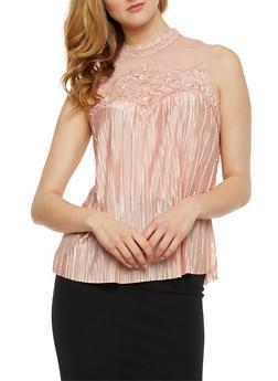 Mesh Yoke Crinkle Knit Top with Lace Trim - MAUVE - 3001058751397