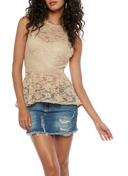 Lace Peplum Tank Top - 3001058751415