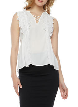 Caged V Neck Top with Crochet Detail - WHITE - 3001058751419