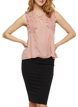 Caged V Neck Top with Crochet Detail - 3001058751419