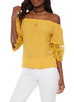 Off the Shoulder Crochet Sleeve Top with Choker - 3001058751820