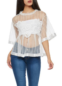 Tulle Shirt with Crochet Applique - IVORY - 3001058751889